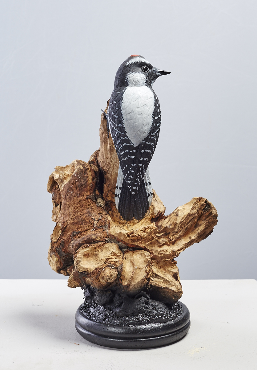 Downy woodpecker woods end art studio wooden bird carvings